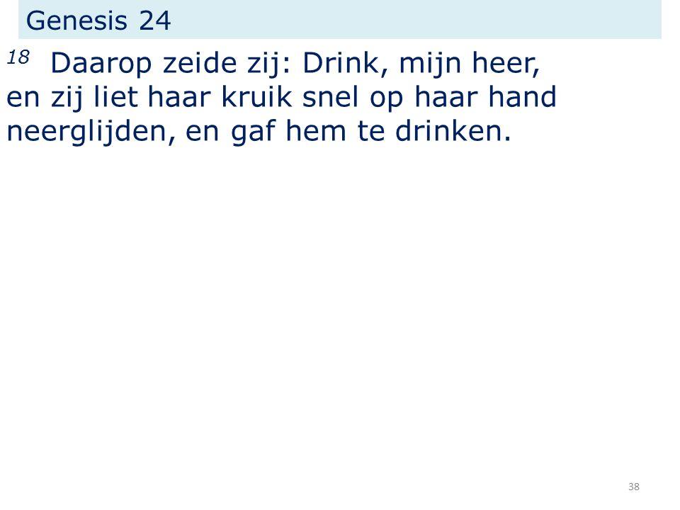 Genesis 24 18 Daarop zeide zij: Drink, mijn heer, en zij liet haar kruik snel op haar hand neerglijden, en gaf hem te drinken.