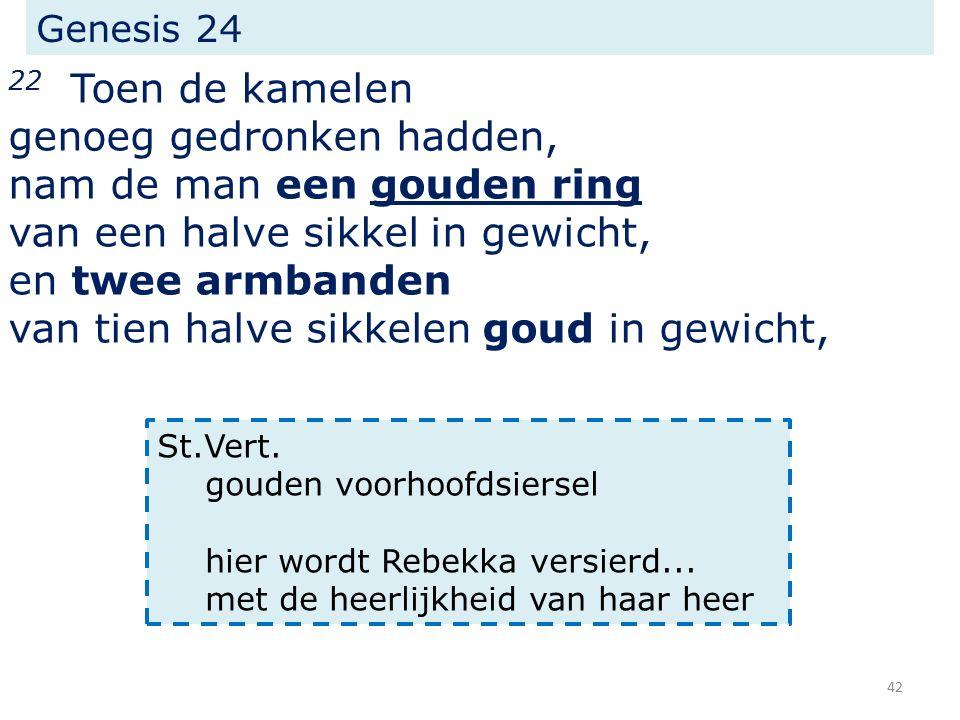 Genesis 24 22 Toen de kamelen genoeg gedronken hadden, nam de man een gouden ring van een halve sikkel in gewicht, en twee armbanden van tien halve sikkelen goud in gewicht, St.Vert.