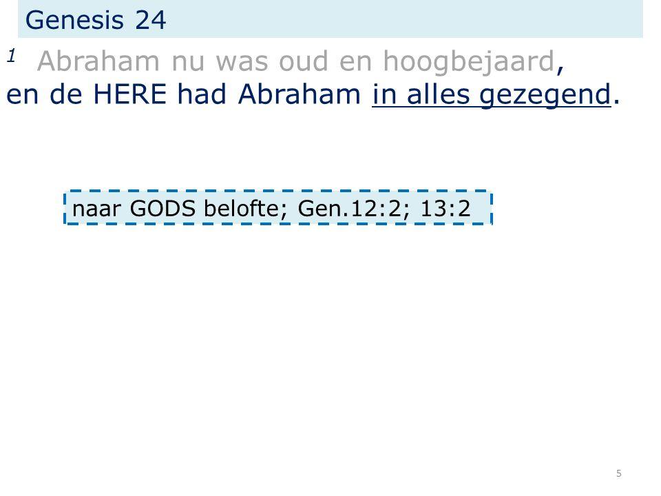Genesis 24 1 Abraham nu was oud en hoogbejaard, en de HERE had Abraham in alles gezegend.