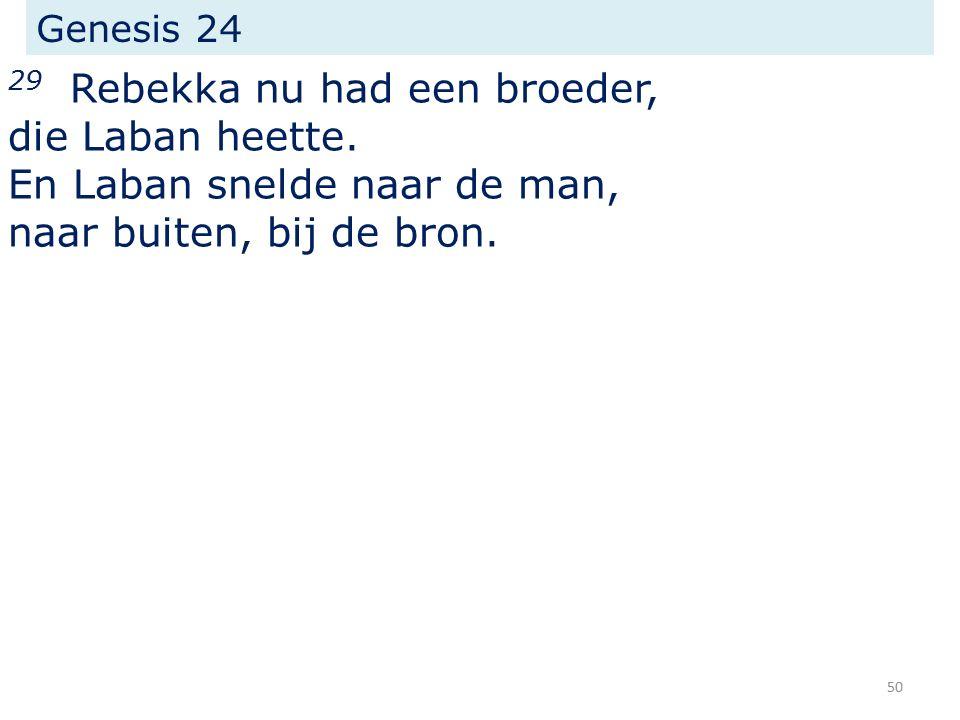 Genesis 24 29 Rebekka nu had een broeder, die Laban heette.