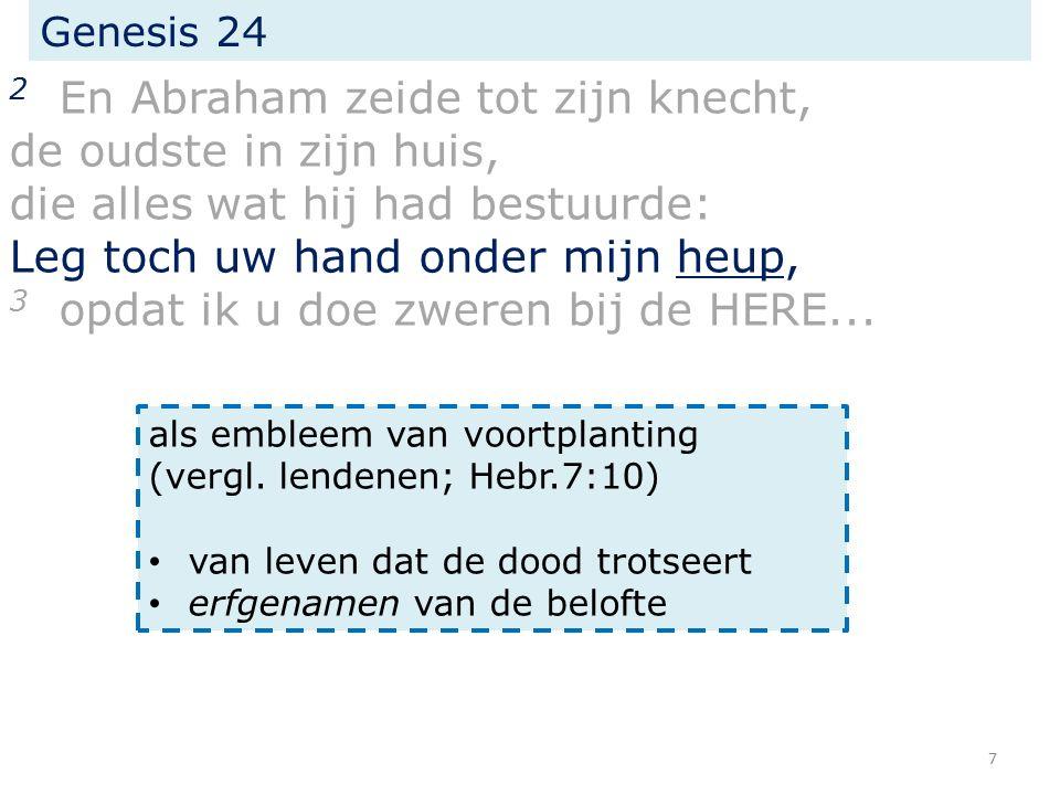 Genesis 24 2 En Abraham zeide tot zijn knecht, de oudste in zijn huis, die alles wat hij had bestuurde: Leg toch uw hand onder mijn heup, 3 opdat ik u doe zweren bij de HERE...