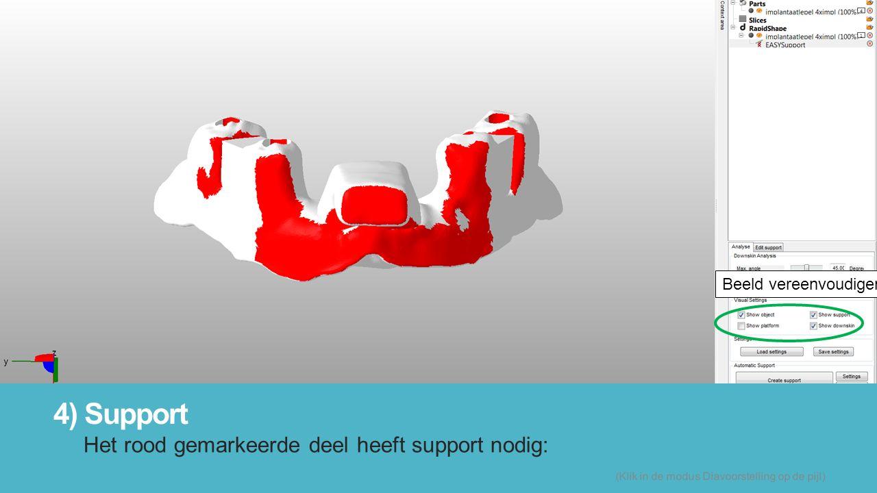 4) Support Het rood gemarkeerde deel heeft support nodig: (Klik in de modus Diavoorstelling op de pijl) Beeld vereenvoudigen