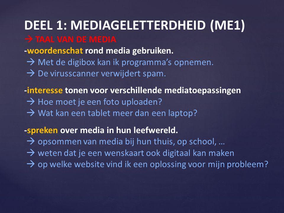 DEEL 1: MEDIAGELETTERDHEID (ME1)  TAAL VAN DE MEDIA -woordenschat rond media gebruiken.  Met de digibox kan ik programma's opnemen.  De virusscanne