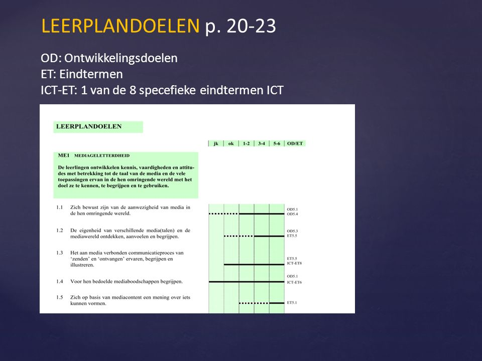 OD: Ontwikkelingsdoelen ET: Eindtermen ICT-ET: 1 van de 8 specefieke eindtermen ICT