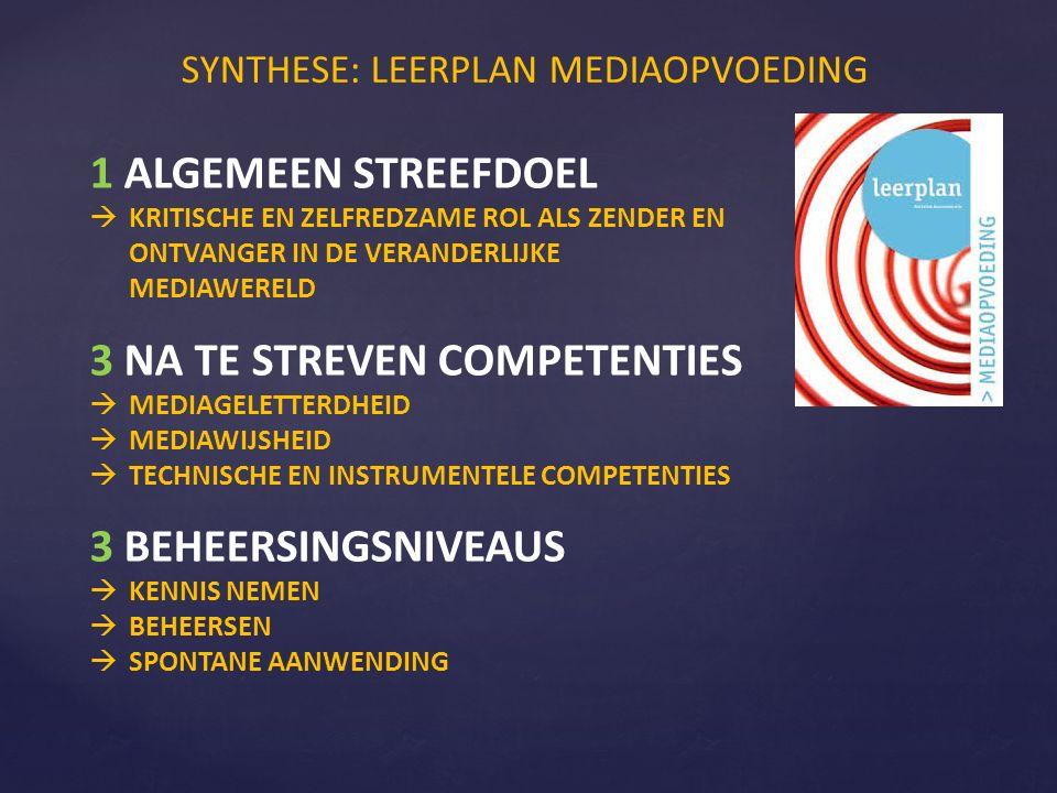SYNTHESE: LEERPLAN MEDIAOPVOEDING 1 ALGEMEEN STREEFDOEL  KRITISCHE EN ZELFREDZAME ROL ALS ZENDER EN ONTVANGER IN DE VERANDERLIJKE MEDIAWERELD 3 NA TE