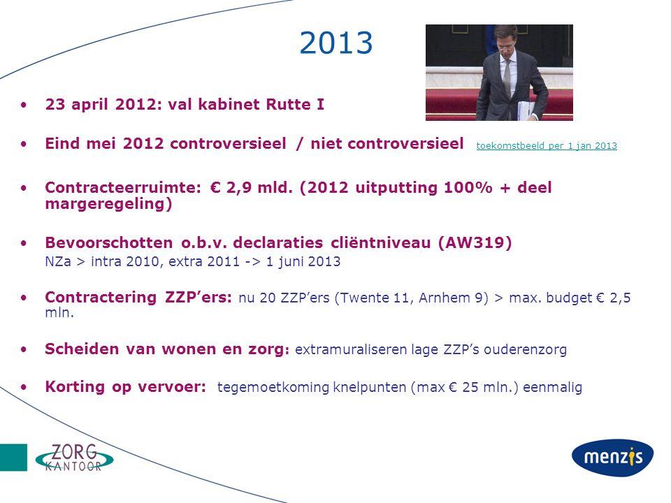 2013 23 april 2012: val kabinet Rutte I Eind mei 2012 controversieel / niet controversieel toekomstbeeld per 1 jan 2013 toekomstbeeld per 1 jan 2013 Contracteerruimte: € 2,9 mld.
