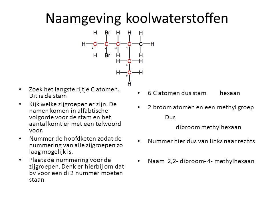 Naamgeving koolwaterstoffen Zoek het langste rijtje C atomen. Dit is de stam Kijk welke zijgroepen er zijn. De namen komen in alfabtische volgorde voo