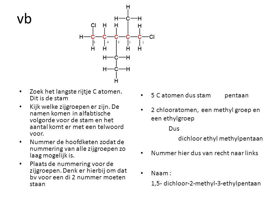 vb Zoek het langste rijtje C atomen. Dit is de stam Kijk welke zijgroepen er zijn. De namen komen in alfabtische volgorde voor de stam en het aantal k