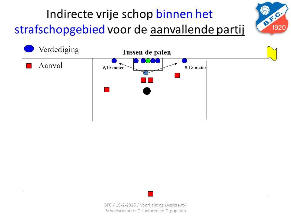 Indirecte vrije schop binnen het strafschopgebied voor de aanvallende partij Tussen de palen Aanval Verdediging 9,15 meter BFC / 19-2-2016 / Voorlicht