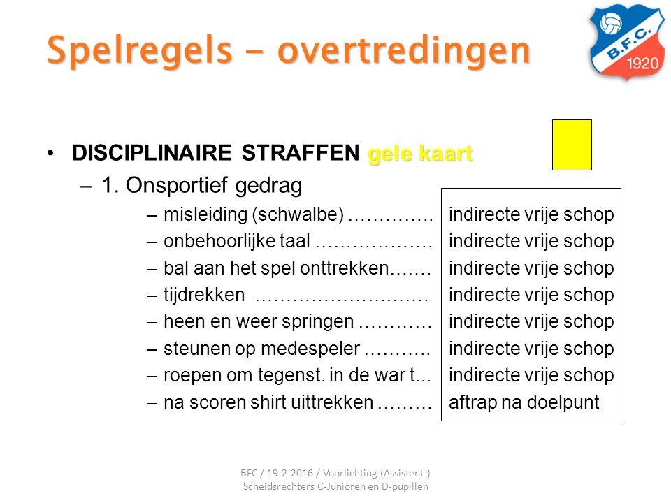 Spelregels - overtredingen gele kaartDISCIPLINAIRE STRAFFEN gele kaart –1. Onsportief gedrag –misleiding (schwalbe) …………..indirecte vrije schop –onbeh