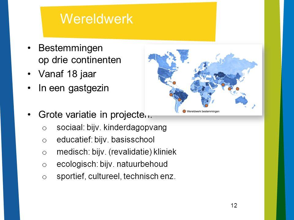 12 Wereldwerk Bestemmingen op drie continenten Vanaf 18 jaar In een gastgezin Grote variatie in projecten: o sociaal: bijv.