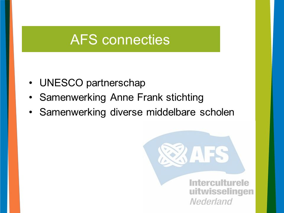 6 UNESCO partnerschap Samenwerking Anne Frank stichting Samenwerking diverse middelbare scholen AFS connecties