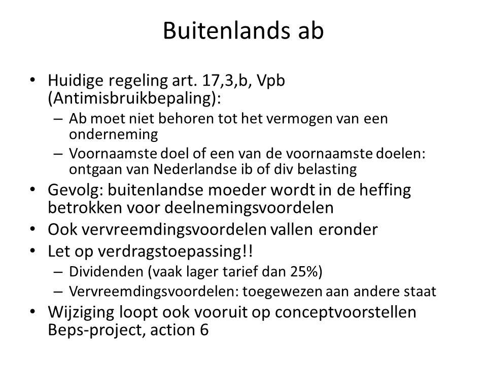 Buitenlands ab Huidige regeling art. 17,3,b, Vpb (Antimisbruikbepaling): – Ab moet niet behoren tot het vermogen van een onderneming – Voornaamste doe