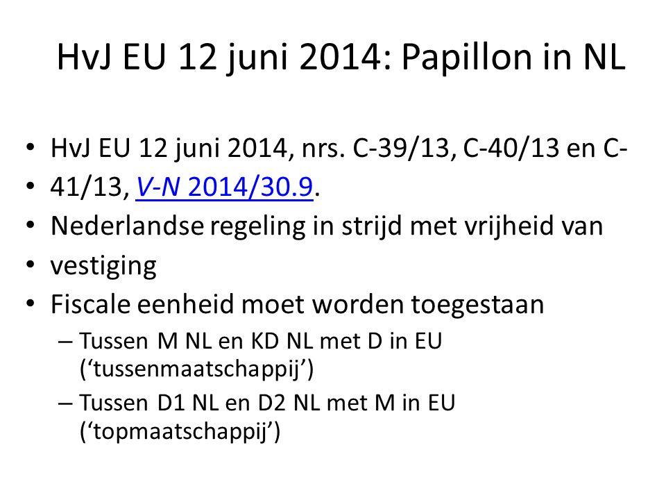 HvJ EU 12 juni 2014: Papillon in NL HvJ EU 12 juni 2014, nrs. C-39/13, C-40/13 en C- 41/13, V-N 2014/30.9.V-N 2014/30.9 Nederlandse regeling in strijd