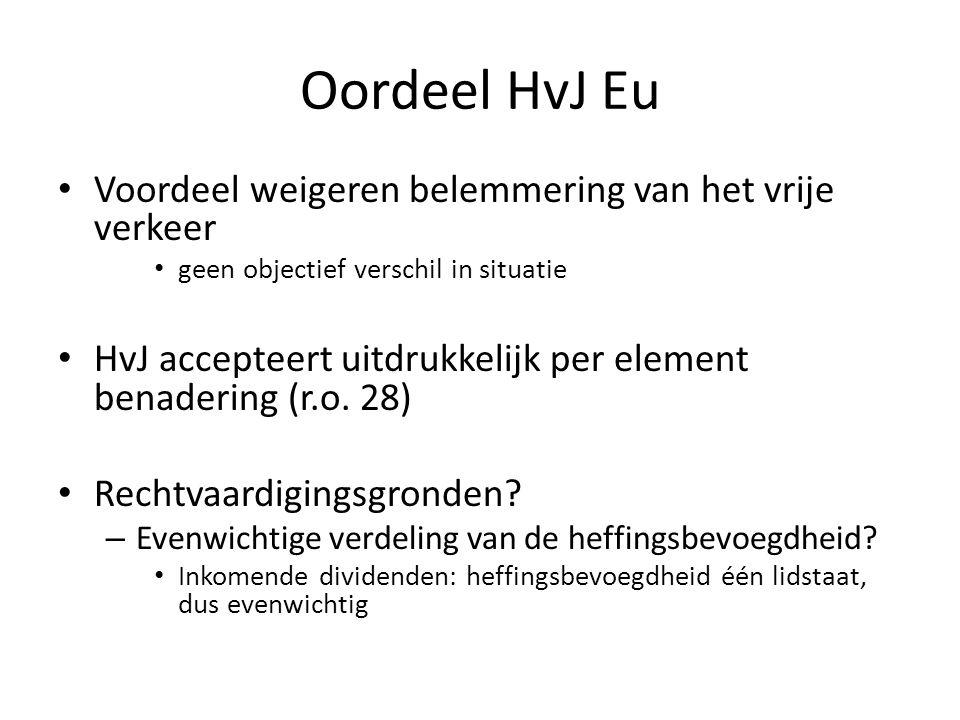 Oordeel HvJ Eu Voordeel weigeren belemmering van het vrije verkeer geen objectief verschil in situatie HvJ accepteert uitdrukkelijk per element benade