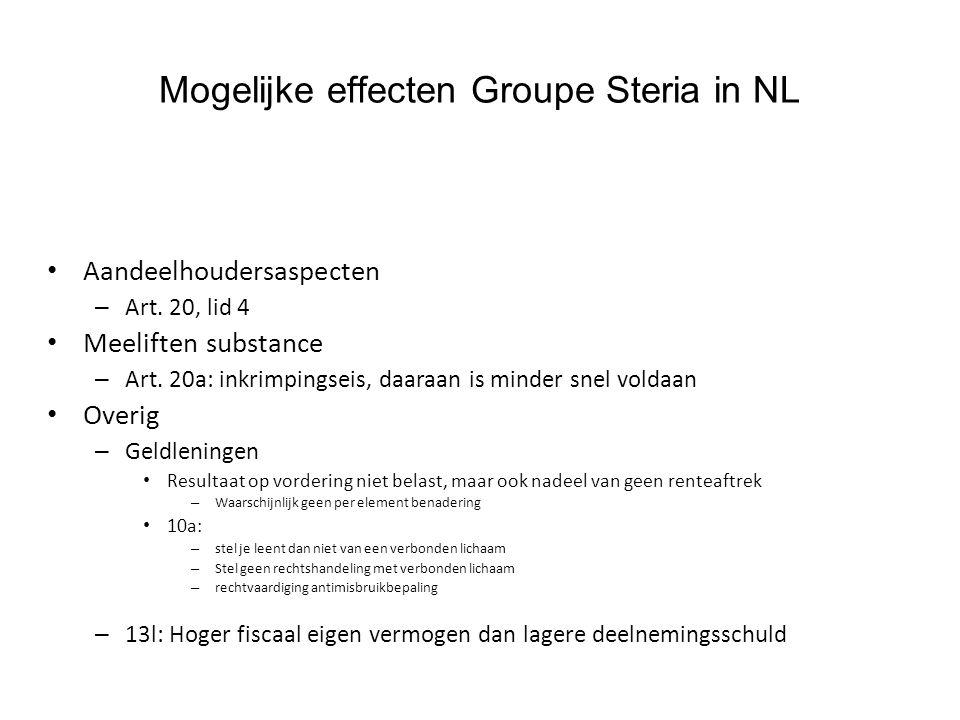 Mogelijke effecten Groupe Steria in NL Aandeelhoudersaspecten – Art. 20, lid 4 Meeliften substance – Art. 20a: inkrimpingseis, daaraan is minder snel