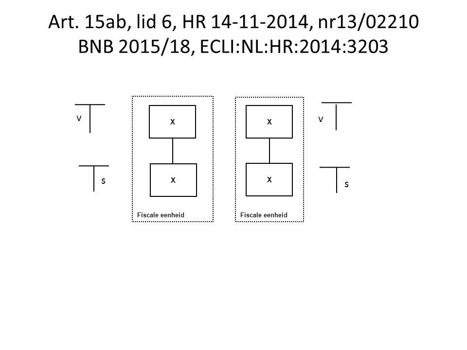 Fiscale eenheid Art. 15ab, lid 6, HR 14-11-2014, nr13/02210 BNB 2015/18, ECLI:NL:HR:2014:3203 X X X v v s s X