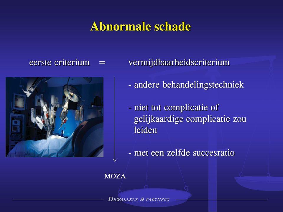 Abnormale schade eerste criterium = vermijdbaarheidscriterium - andere behandelingstechniek - niet tot complicatie of gelijkaardige complicatie zou leiden - met een zelfde succesratio MOZA