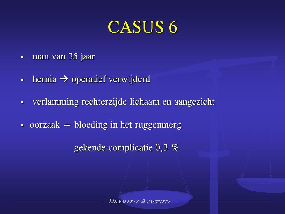 CASUS 6  man van 35 jaar  hernia  operatief verwijderd  verlamming rechterzijde lichaam en aangezicht  oorzaak = bloeding in het ruggenmerg gekende complicatie 0,3 %