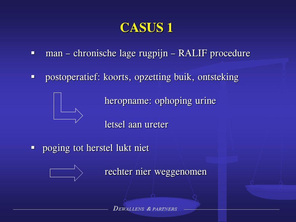 CASUS 1  man – chronische lage rugpijn – RALIF procedure  postoperatief: koorts, opzetting buik, ontsteking heropname: ophoping urine letsel aan ureter  poging tot herstel lukt niet rechter nier weggenomen