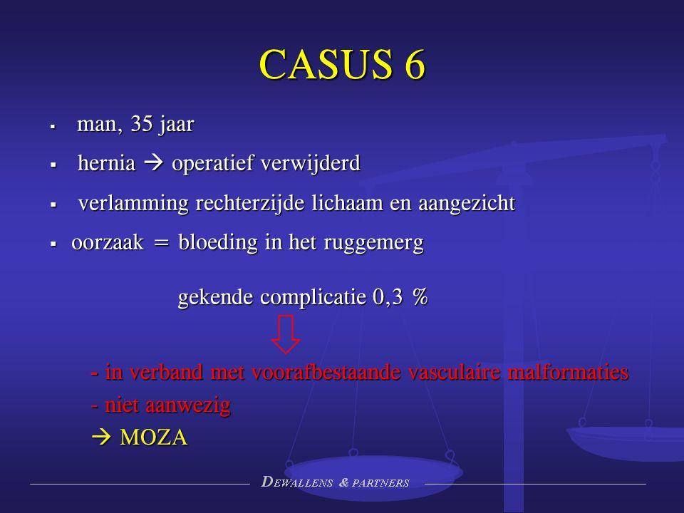 CASUS 6 - in verband met voorafbestaande vasculaire malformaties - niet aanwezig  MOZA  man, 35 jaar  hernia  operatief verwijderd  verlamming rechterzijde lichaam en aangezicht  oorzaak = bloeding in het ruggemerg gekende complicatie 0,3 %