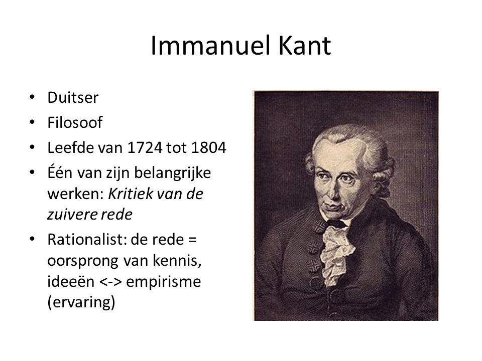 Immanuel Kant Duitser Filosoof Leefde van 1724 tot 1804 Één van zijn belangrijke werken: Kritiek van de zuivere rede Rationalist: de rede = oorsprong