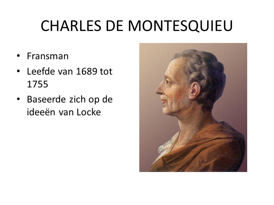 CHARLES DE MONTESQUIEU Fransman Leefde van 1689 tot 1755 Baseerde zich op de ideeën van Locke