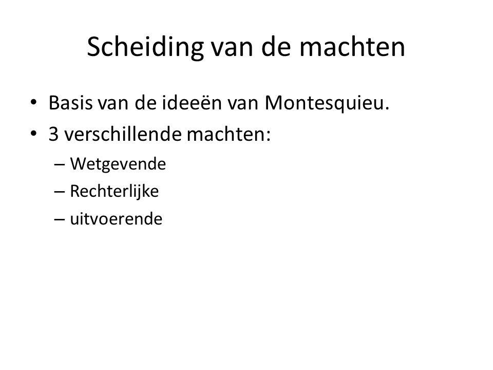 Scheiding van de machten Basis van de ideeën van Montesquieu. 3 verschillende machten: – Wetgevende – Rechterlijke – uitvoerende