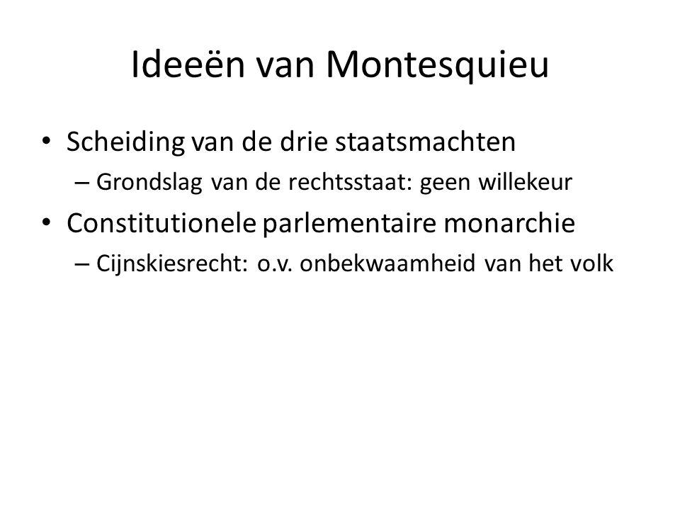 Ideeën van Montesquieu Scheiding van de drie staatsmachten – Grondslag van de rechtsstaat: geen willekeur Constitutionele parlementaire monarchie – Ci