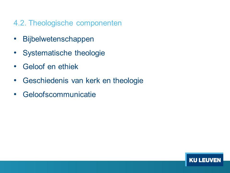 Bijbelwetenschappen Systematische theologie Geloof en ethiek Geschiedenis van kerk en theologie Geloofscommunicatie 4.2. Theologische componenten