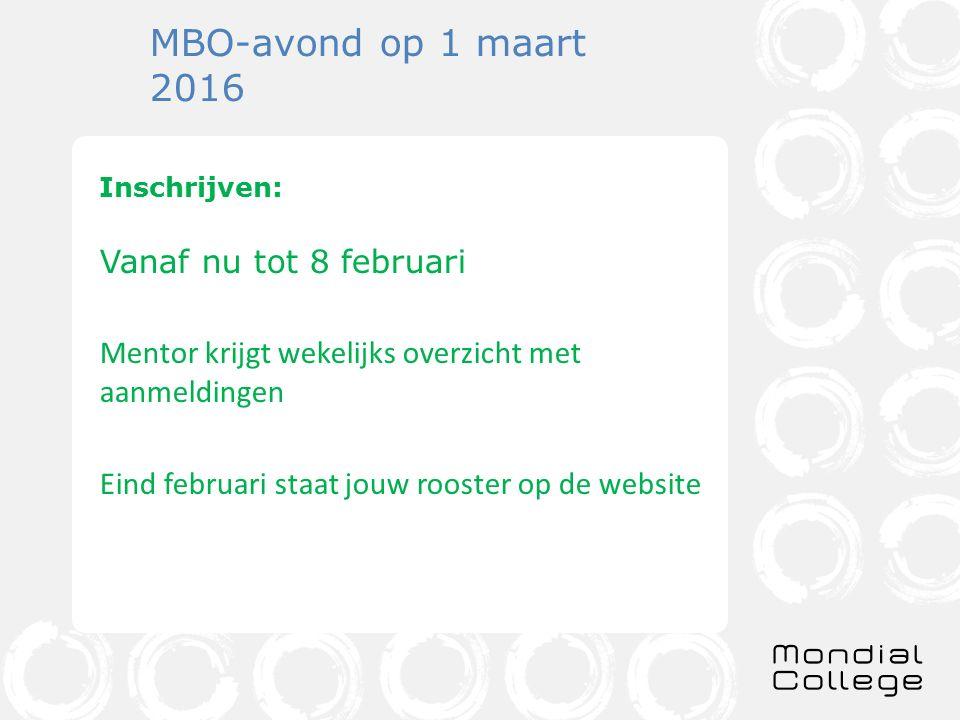 MBO-avond op 1 maart 2016 Inschrijven: Vanaf nu tot 8 februari Mentor krijgt wekelijks overzicht met aanmeldingen Eind februari staat jouw rooster op de website