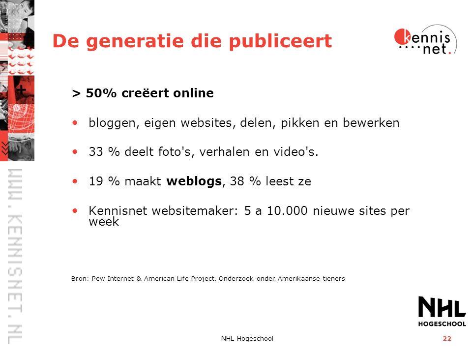 NHL Hogeschool22 De generatie die publiceert > 50% creëert online bloggen, eigen websites, delen, pikken en bewerken 33 % deelt foto's, verhalen en vi