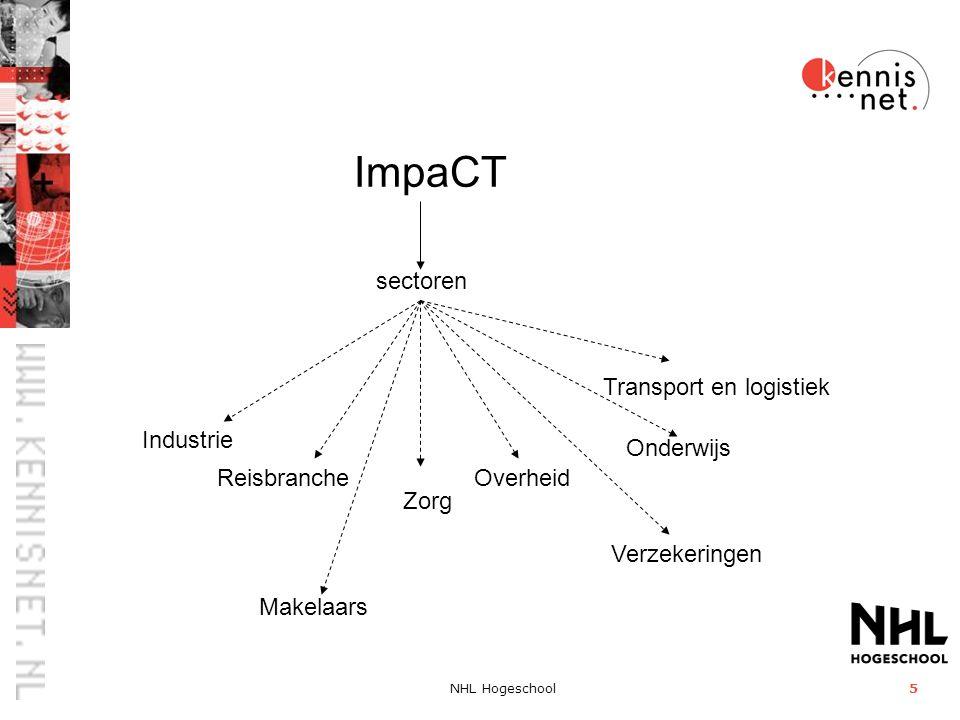 NHL Hogeschool5 ImpaCT sectoren Reisbranche Verzekeringen Overheid Transport en logistiek Onderwijs Industrie Zorg Makelaars