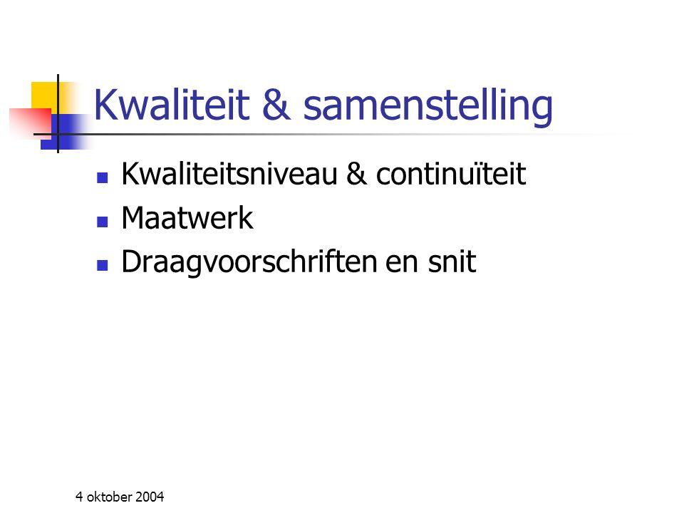 4 oktober 2004 Distributie Leveringstermijnen Stockartikelen Te bestellen artikelen Alternatief systeem .