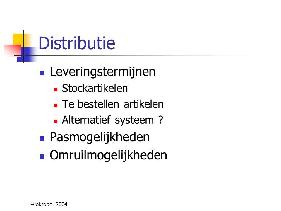 4 oktober 2004 Dotatie Hoogte van de dotatie Koppeling aan een index Gelijkheid mannen en vrouwen Nieuwe chauffeurs basispakket / dotatie diensttas