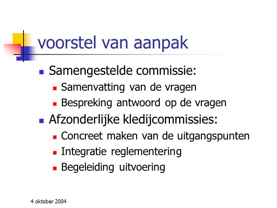 4 oktober 2004 Antwoord op vragen 12 juli Overleg en communicatie Kwaliteit en samenstelling uniform Distributie Dotatie Punctuele vragen