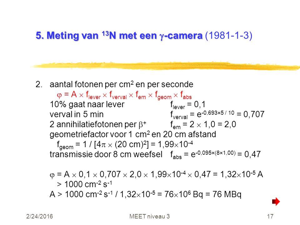 2/24/2016MEET niveau 317 5. Meting van 13 N met een  -camera 5. Meting van 13 N met een  -camera (1981-1-3) 2.aantal fotonen per cm 2 en per seconde