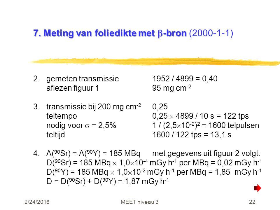 2/24/2016MEET niveau 322 7. Meting van foliedikte met  -bron 7. Meting van foliedikte met  -bron (2000-1-1) 2.gemeten transmissie1952 / 4899 = 0,40