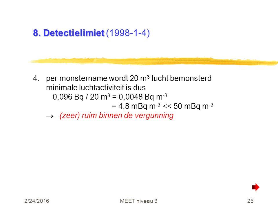 2/24/2016MEET niveau 325 8. Detectielimiet 8.