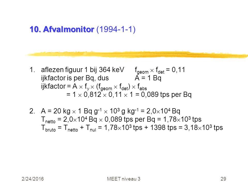 2/24/2016MEET niveau 329 10. Afvalmonitor 10. Afvalmonitor (1994-1-1) 1.aflezen figuur 1 bij 364 keVf geom  f det = 0,11 ijkfactor is per Bq, dusA =
