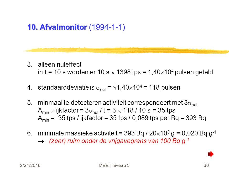 2/24/2016MEET niveau 330 10. Afvalmonitor 10. Afvalmonitor (1994-1-1) 3.alleen nuleffect in t = 10 s worden er 10 s  1398 tps = 1,40  10 4 pulsen ge