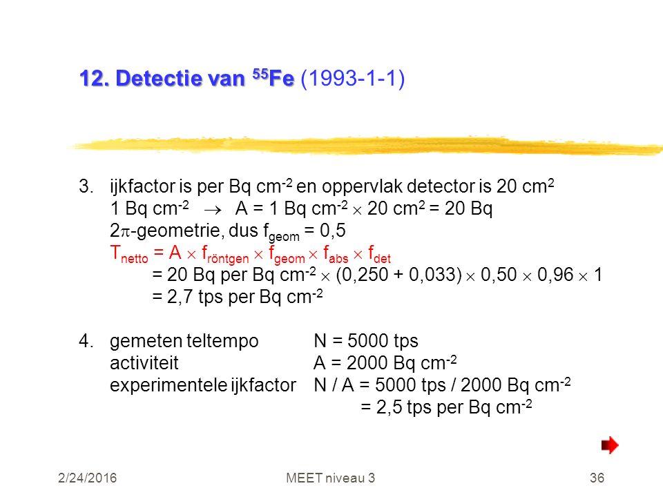 2/24/2016MEET niveau 336 12. Detectie van 55 Fe 12. Detectie van 55 Fe (1993-1-1) 3.ijkfactor is per Bq cm -2 en oppervlak detector is 20 cm 2 1 Bq cm