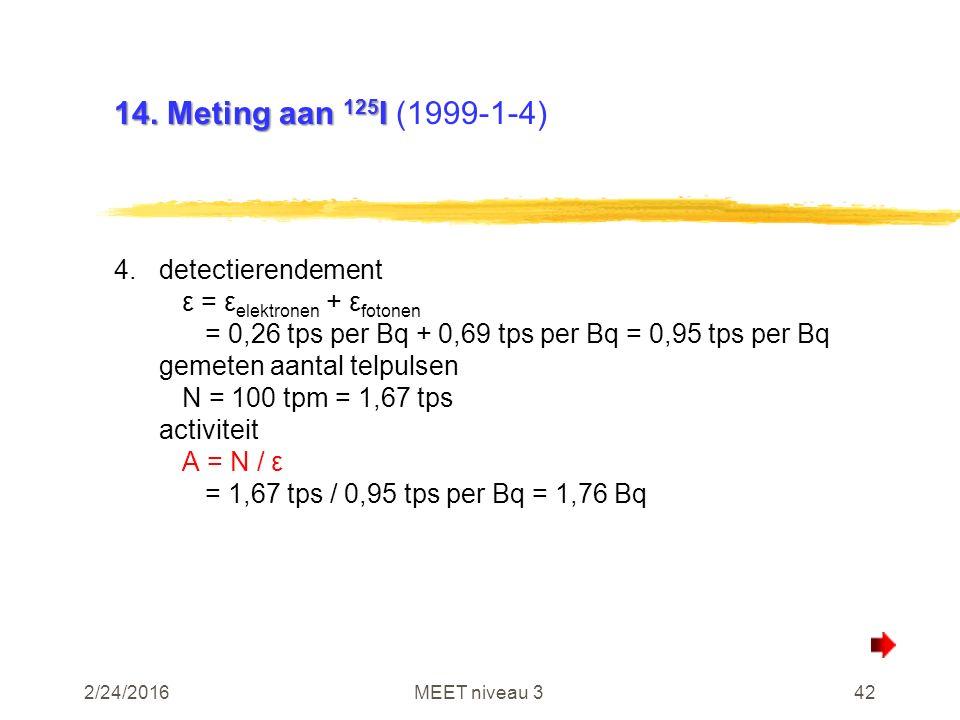 2/24/2016MEET niveau 342 14. Meting aan 125 I 14. Meting aan 125 I (1999-1-4) 4.detectierendement ε = ε elektronen + ε fotonen = 0,26 tps per Bq + 0,6