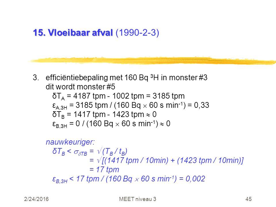 2/24/2016MEET niveau 345 15. Vloeibaar afval 15. Vloeibaar afval (1990-2-3) 3.efficiëntiebepaling met 160 Bq 3 H in monster #3 dit wordt monster #5 δT