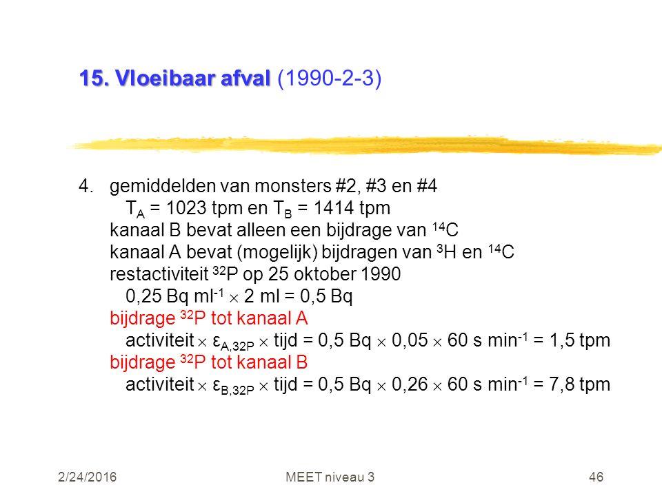 2/24/2016MEET niveau 346 15. Vloeibaar afval 15. Vloeibaar afval (1990-2-3) 4.gemiddelden van monsters #2, #3 en #4 T A = 1023 tpm en T B = 1414 tpm k