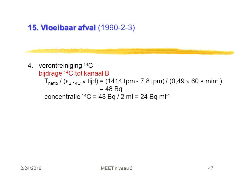 2/24/2016MEET niveau 347 15. Vloeibaar afval 15. Vloeibaar afval (1990-2-3) 4.verontreiniging 14 C bijdrage 14 C tot kanaal B T netto / (ε B,14C  tij