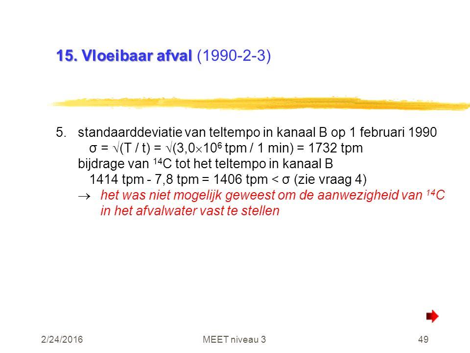 2/24/2016MEET niveau 349 15. Vloeibaar afval 15. Vloeibaar afval (1990-2-3) 5.standaarddeviatie van teltempo in kanaal B op 1 februari 1990 σ =  (T /