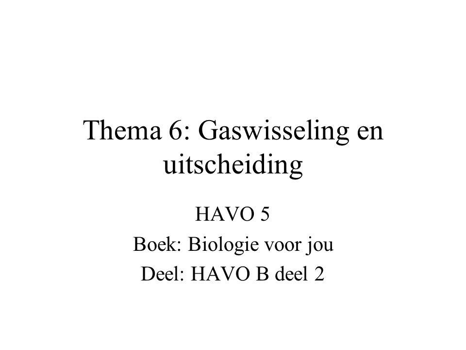 Thema 6: Gaswisseling en uitscheiding HAVO 5 Boek: Biologie voor jou Deel: HAVO B deel 2