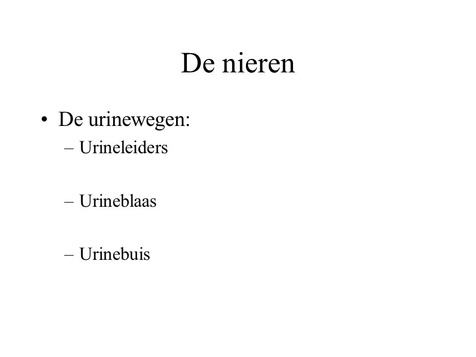 De nieren De urinewegen: –Urineleiders –Urineblaas –Urinebuis