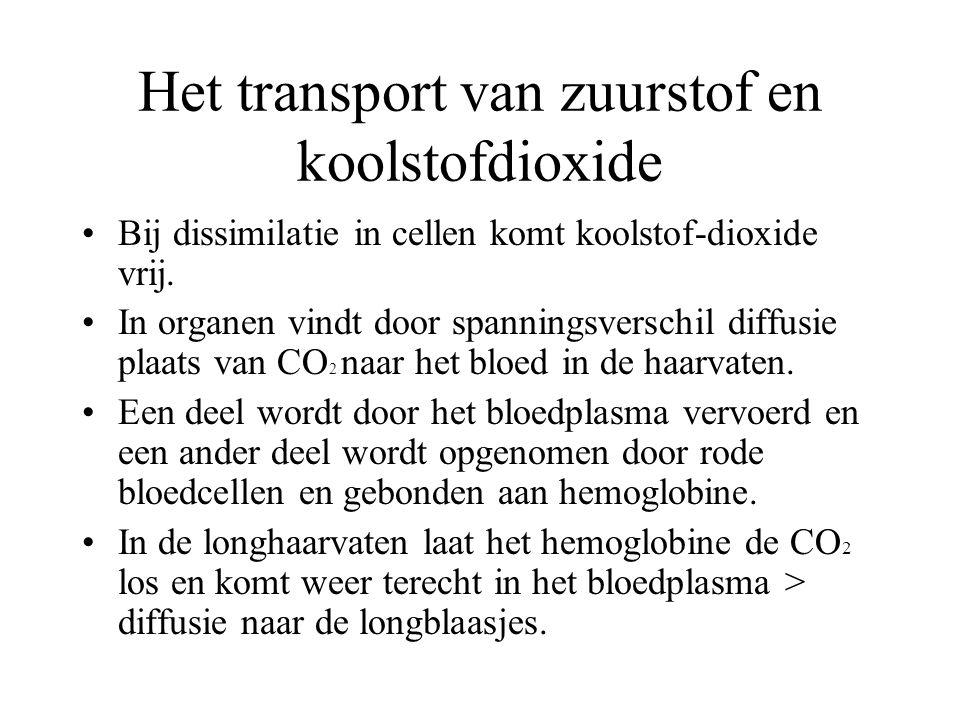 Het transport van zuurstof en koolstofdioxide Bij dissimilatie in cellen komt koolstof-dioxide vrij. In organen vindt door spanningsverschil diffusie